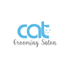 cat grooming salon logo blue template vector image