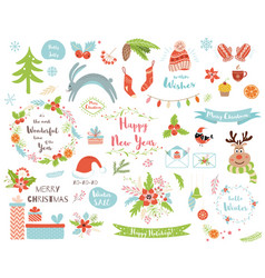 christmas set new year clipart elements deer fur vector image
