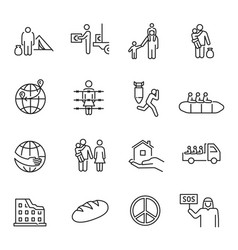 collection monochrome simple refugees icon vector image