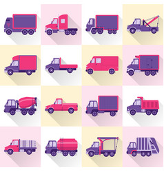 Collection of truck icons in flat style with long vector