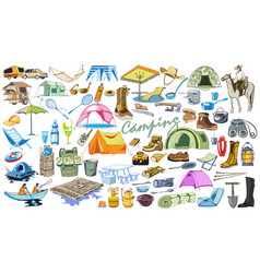 Colored camping and hiking elements collection vector