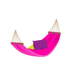 Colorful purple textile hammock in yard home pool vector