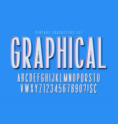 condensed comical 3d display font design alphabet vector image
