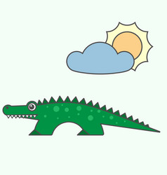 crocodile cartoon style art for kids vector image