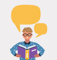 cute boy reading book vector image