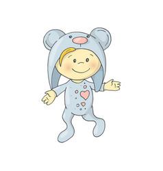 cute charming cartoon boy in a pajamas costume vector image