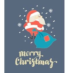Cute Santa Claus walking with Christmas sack in vector image
