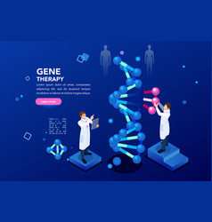 Dna molecule helix blue background vector