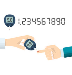Doctors hand measures the blood sugar level of vector