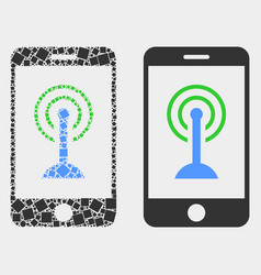 Dot and flat smartphone wi-fi hotspot icon vector