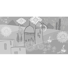 Drawing abstraction in oriental style arabic city vector