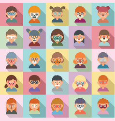 Face painting icons set flat paint kids vector