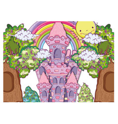 fantastic castle with trees houses and sun vector image