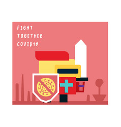 Fight together covid-19 poster vector