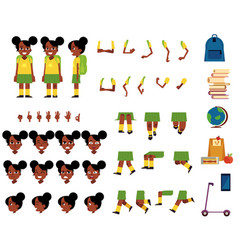 Flat african student kid creation set vector