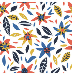flowers and leaves hand drawn seamless pattern vector image