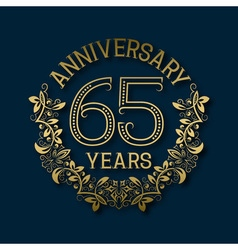 Golden emblem of sixty fifth years anniversary vector image