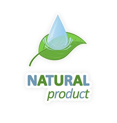 Green leaf with water drop Natural product vector