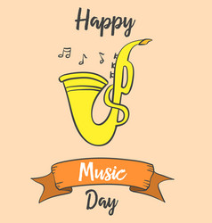 Greeting card music day art vector