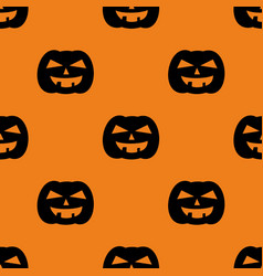 halloween tile pattern with a black pumpkin vector image