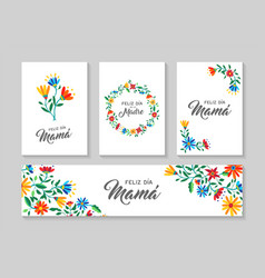 happy mother day spanish flower art card set vector image