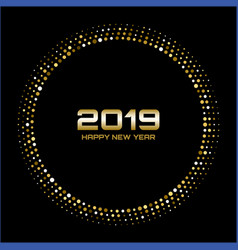 Happy new year 2019 gold bright disco lights vector
