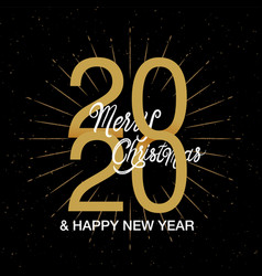 happy new year 2020 logo text design merry vector image