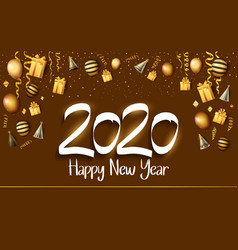 Happy new year 2020 white color number vector