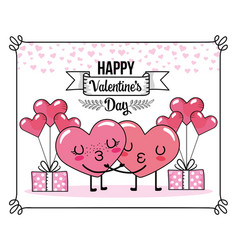 hearts couple kiss with balloons and presents vector image
