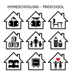 Homeschooling - preschool icons set vector