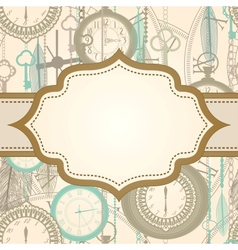 Invitation card with retro frame and clock pattern vector image