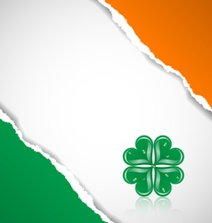 Irish flag background with clover vector image
