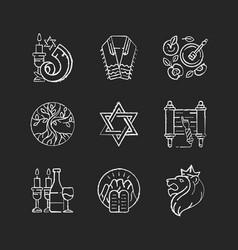 Judaism symbols chalk white icons set on black vector