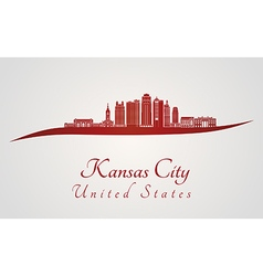 Kansas City V2 skyline in red vector