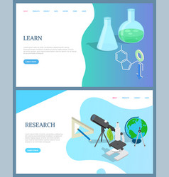 Learn screen research discovery website vector