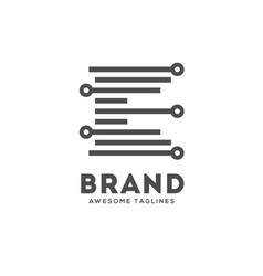 letter e lines logo vector image