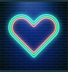 love neon valentines day heart concept heart vector image