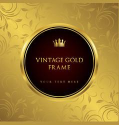 Luxury golden vintage frame and background vector
