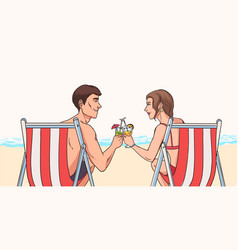 Man and woman sit in deck chairs on sandy beach in vector