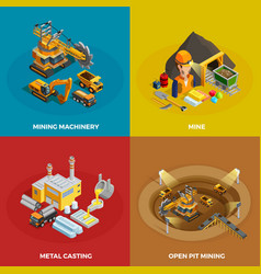 Mining Concept Icons Set vector image