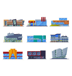 modern retail store buildings collection shopping vector image