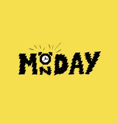 monday alarm clock on trendy yellow background vector image