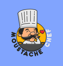 moustache chef good for restaurant brand trendy vector image