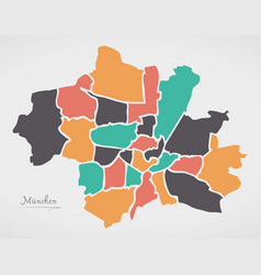 Munich map with boroughs and modern round shapes vector