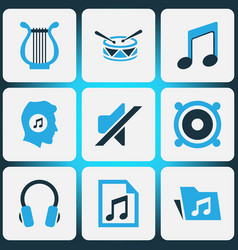 Music colored icons set collection of drum mute vector