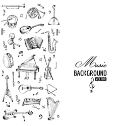 Music Instruments Background - hand drawn vector image