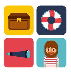 nautical design elements life buoy sailor treasure vector image
