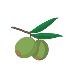 Olives on branch with leaves icon cartoon style vector