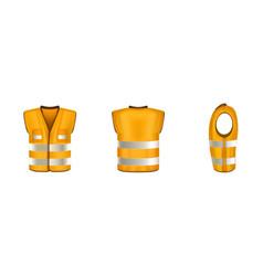 Orange safety vest with reflective stripes vector