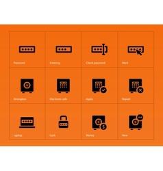 Password icons on orange background vector
